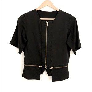 Lululemon Lab Black Crop Zip Short Sleeve Shirt